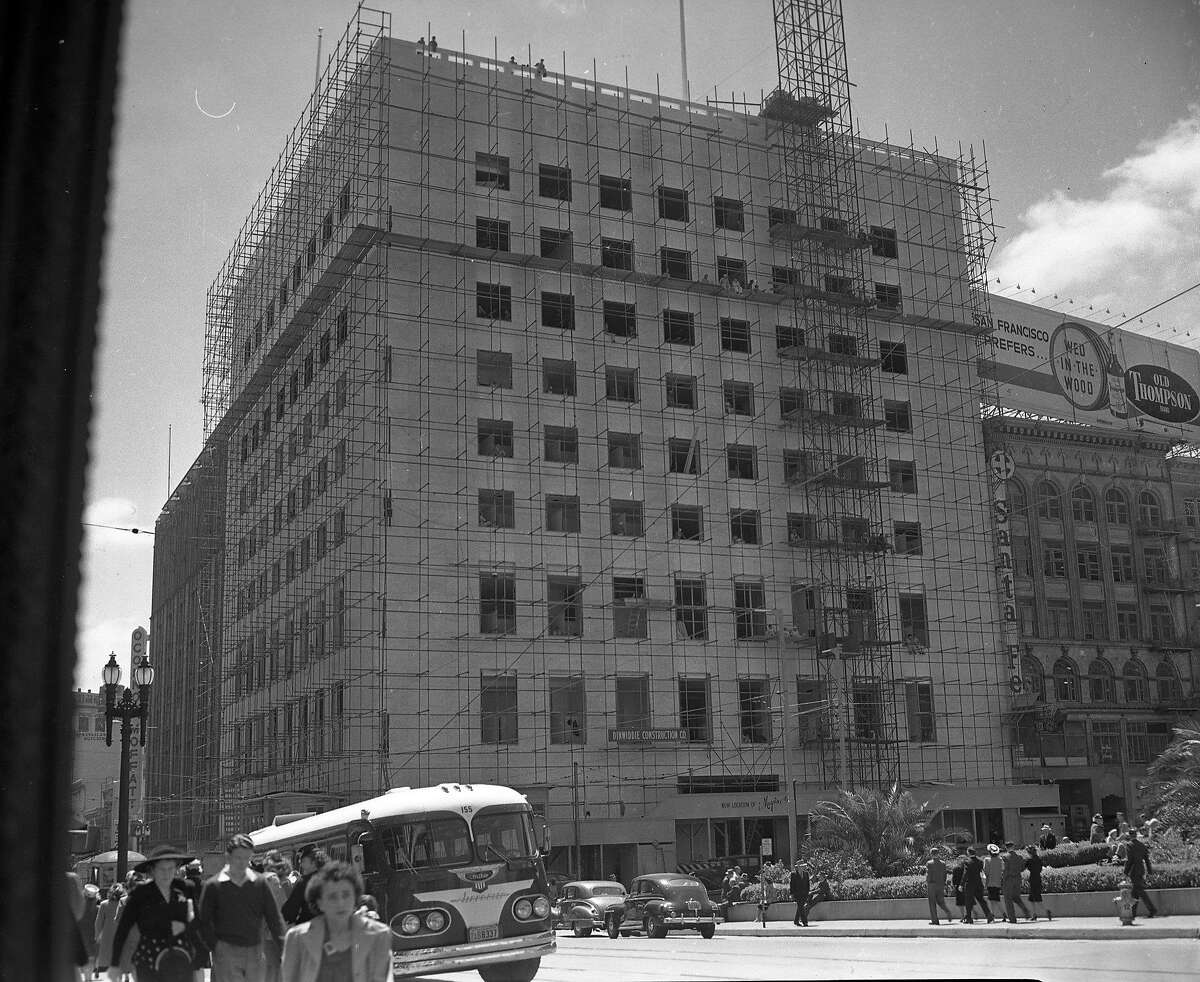 The new I. Magnin building on Union Square, under construction late 1947