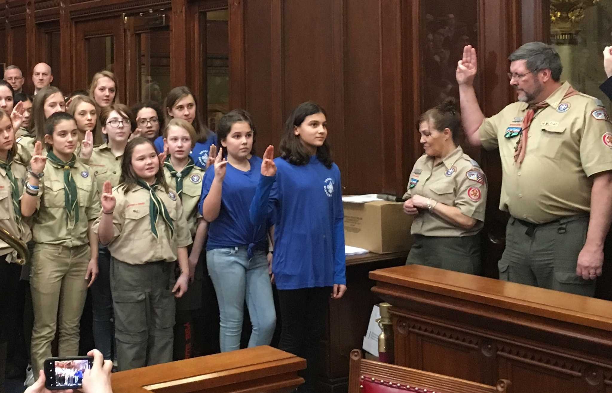 Girls Join Boy Scouts At State Capitol On First Co Ed Day