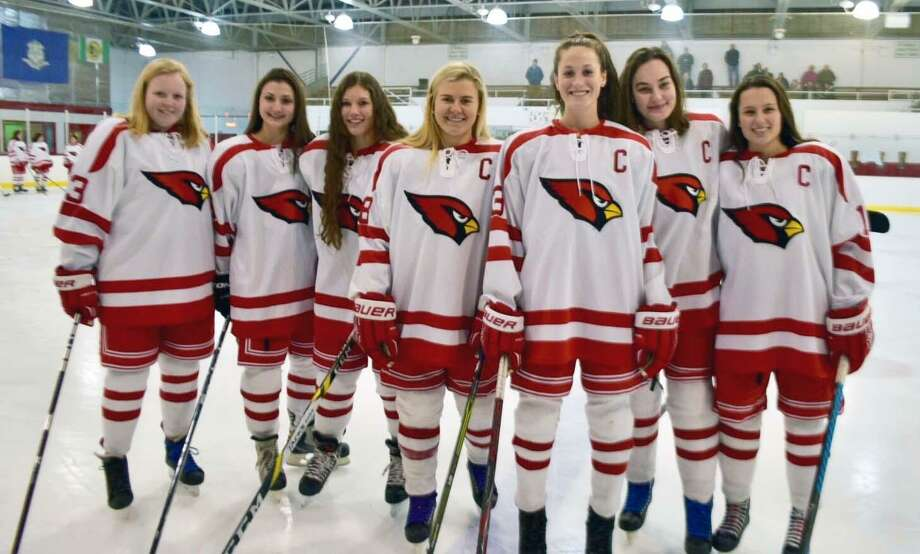 From left to right, Lucy Fulton, Nicole Huber, Katie Walko, Jennifer Kelly, Grace Fahey, Hayley Duffy and Grace Finneran were the seniors on the Greenwich High School hockey team honored on Senior Night Thursday at Dorothy Hamill Skating Rink. Photo: Contributed Photo / Greenwich Time Contributed