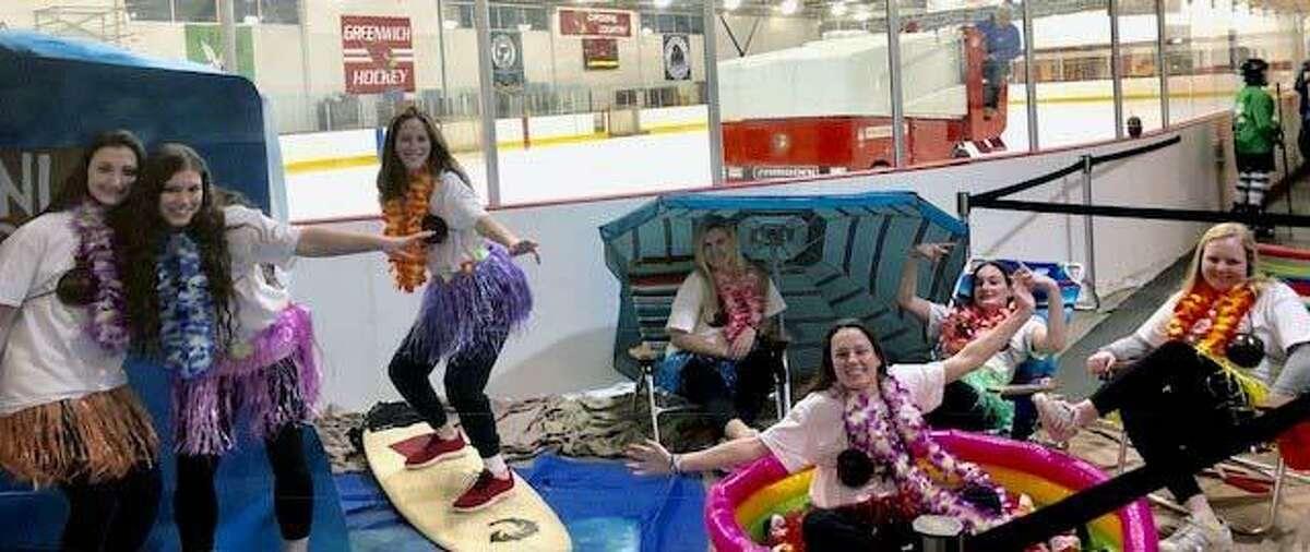 The Greenwich High School girls hockey team followed a beach theme for its Senior Night ceremony on Thursday night at Dorothy Hamill Skating Rink.