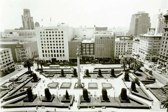 Macy's and I Magnin & Co once anchored Union Square in San Francisco. Date not specified on photo. Early 1980s?