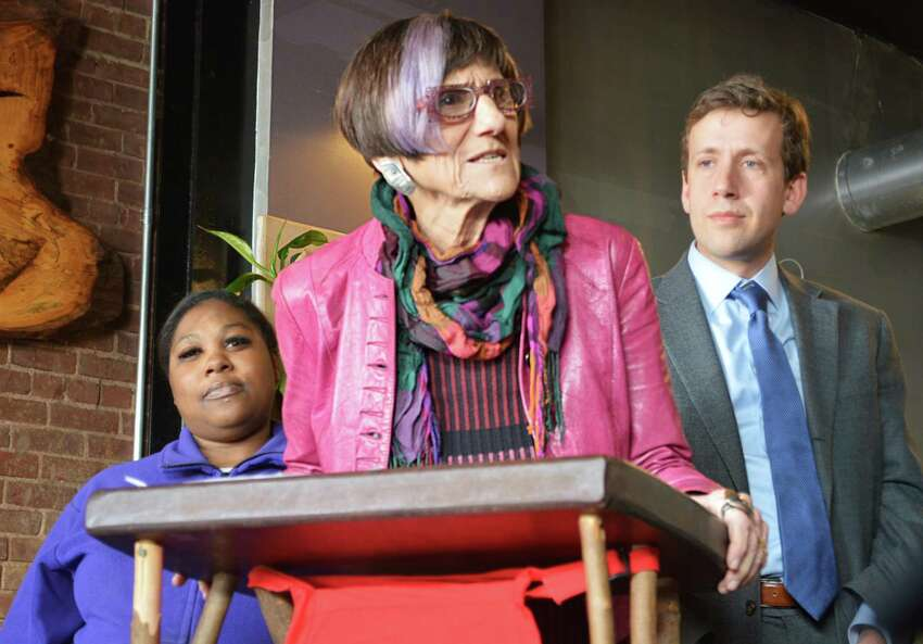 U.S. Rep. Rosa DeLauro, D-3, spoke at ION Restaurant in Middletown about the importance of supporting the reintroduction of legislation that would ensure employees paid medical leave.