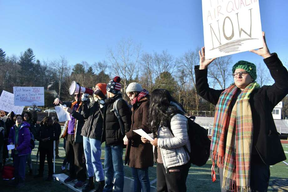 Students at Westhill High School staged a walkout on Dec. 10, 2018 to raise awareness about the effects the mold in their school has on their health. The Board of Finance has authorized $50 million for a capital-project account to shore up six schools where mold cleanup is nearly complete. Photo: Contributed Photo / Contributed Photo / Stamford Advocate contributed