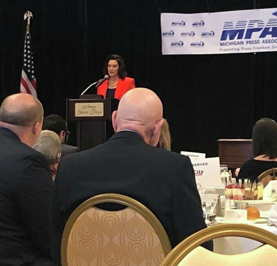 Gov. Gretchen Whitmer speaks during a luncheon Friday that was held as part of the Michigan Press Association's annual convention. (Kate Hessling/Huron Daily Tribune)