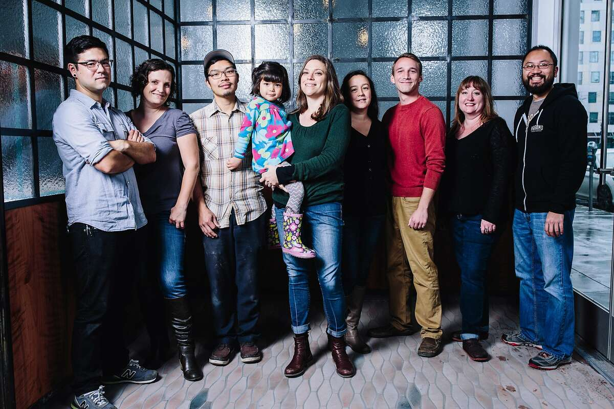 (L-R) Head Chef Chris Kiyuna, Beverage Director Jennifer Colliau, Co-founders Anthony Myint and�Karen Leibowitz with daughter Aviva Myint, Director of Operations Mary Christie, Director of Living Systems Nathan Kaufman, General Manager Molly Fritz of Perennial and Brian Pham, director of operations at Paramo Coffee, stand for a group photo at The Perennial in San Francisco, Calif. on Thursday, Dec. 24, 2015.