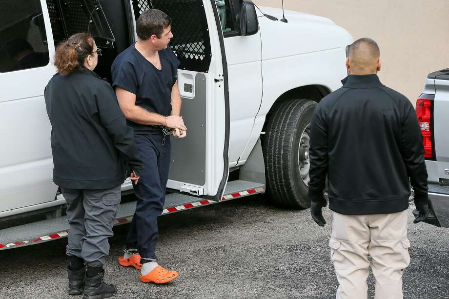 Border Patrol agent Vernon Lee Millican, 36, of Leakey, TX, arrested at his home on Thursday for producing child porn, arrives at the federal courthouse for his initial appearance on Friday, Feb. 1, 2019. Photo: Marvin Pfeiffer, Staff Photographer / Express-News 2019