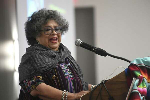 "Ellen Riojas Clark, a bilingual studies professor at the University of Texas at San Antonio, speaks at the San Antonio Association of Bilingual Educators' annual conference on Feb. 1, 2019. Clark is one of the founders of a newly-formed group called M?""tú that aims to end domestic violence by raising awareness about the issue."