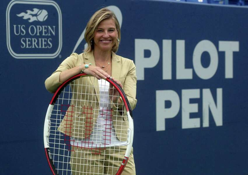 New Canaan resident Anne Worcester, Pilot Pen's tournament director on the stadium court. 8/13/2009