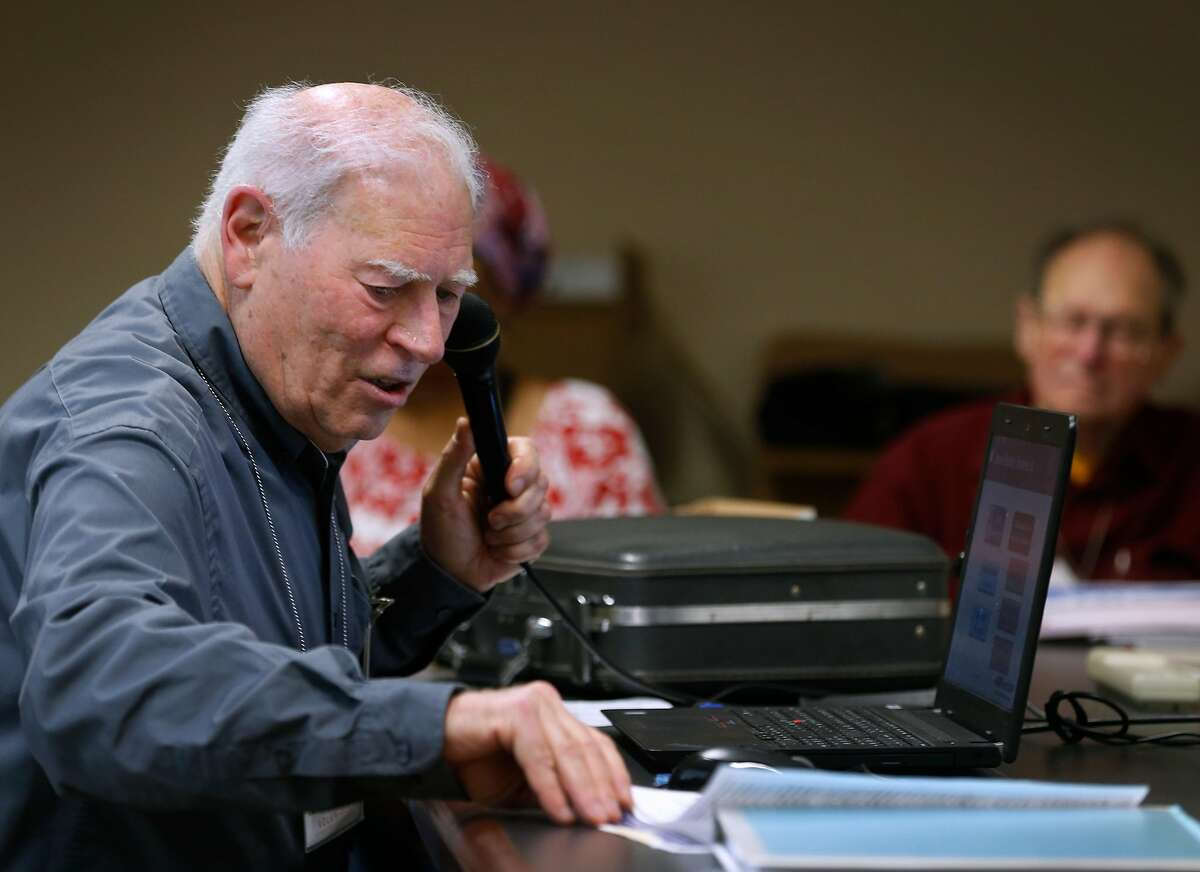 Hal Helfand leads a two-day training presentation in Oakland, Calif. on Wednesday, Jan. 23, 2019 for tax preparers who will be volunteering their services for the AARP Foundation Tax-Aide program.