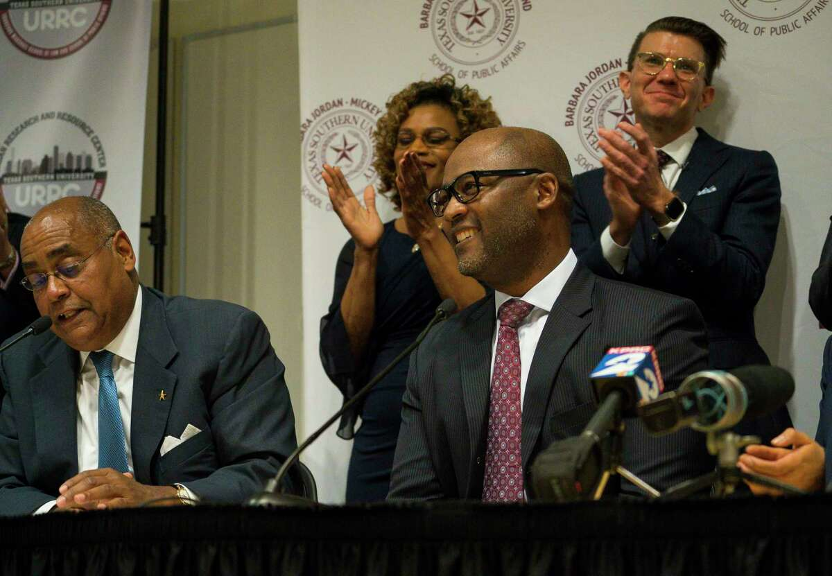 Darrell Jordan (center), the presiding judge of the Harris County Criminal Courts at Law, joins Commissioner Rodney Ellis (left), Tarsha Jackson with the Texas Organizing Project and Judge Franklin Bynum in talking about new judicial protocols for bail rules at a news conference at Texas Southern University on Jan. 17, 2019.