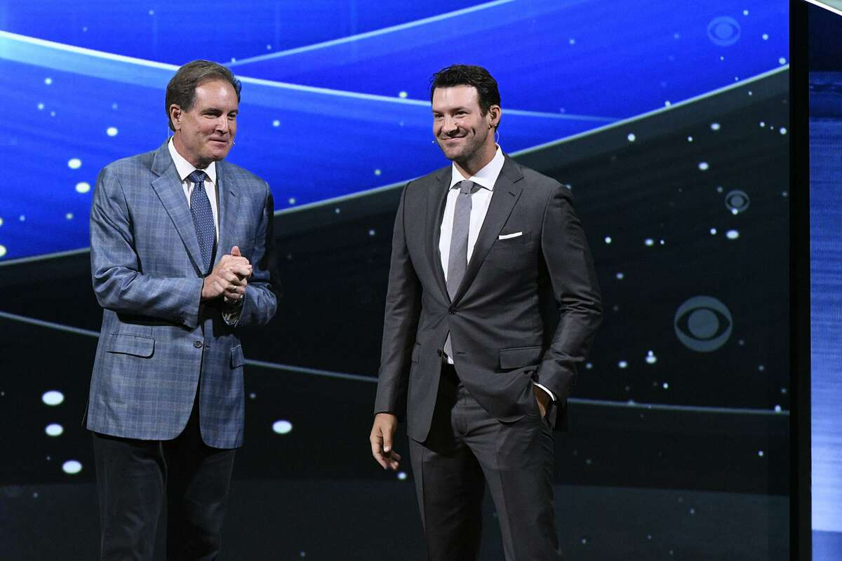 """Jim Nantz, left, and Tony Romo will do Super Bowl LIII commentary, but Romo steps out beforehand with """"Tony Goes to the Super Bowl."""""""