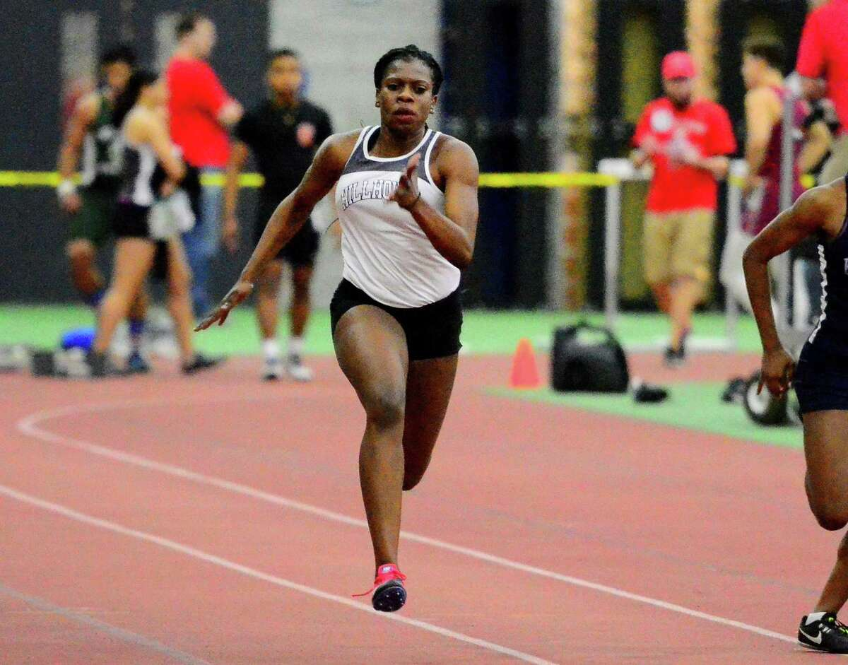 Hillhouse's Ayesha Nelson competes in the 55 meter dash during SCC Indoor Track and Field Championship action in New Haven, Conn., on Friday Feb. 1, 2019.