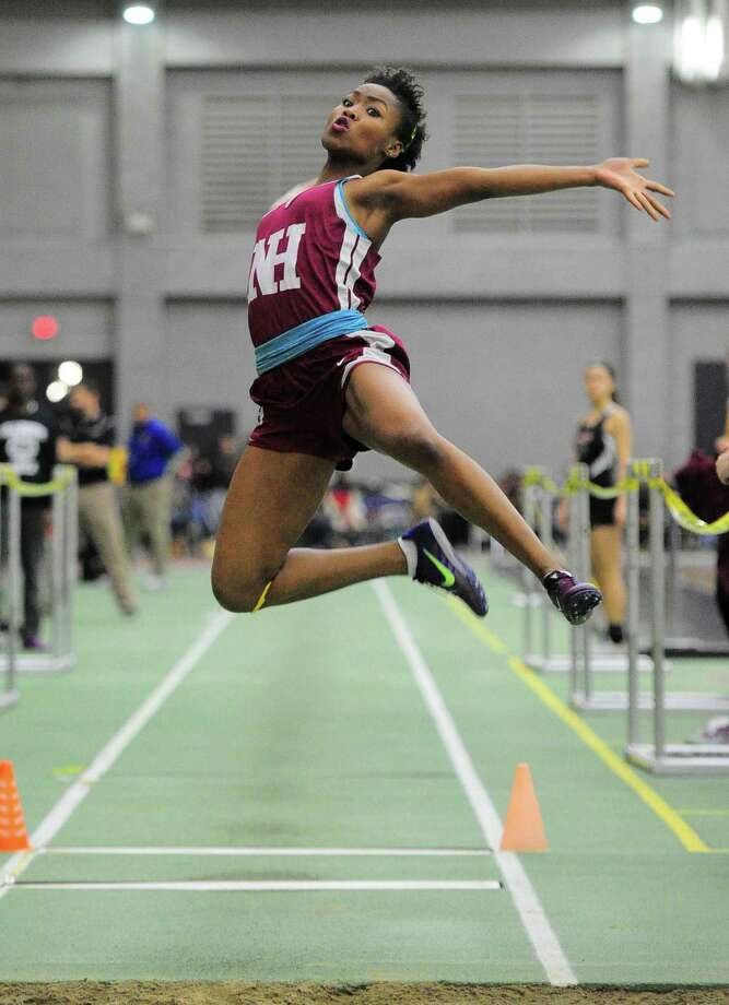 North Haven's Erica Marriott competes in the long jump during SCC Indoor Track and Field Championship action in New Haven, Conn., on Friday Feb. 1, 2019. Photo: Christian Abraham / Hearst Connecticut Media / Connecticut Post