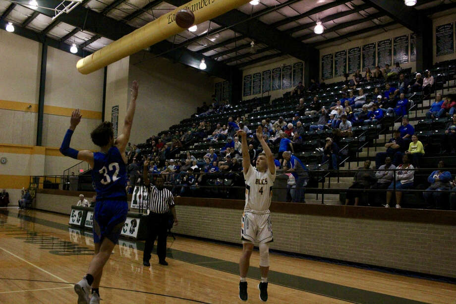 East Chambers with the 3-point shot attempt on Friday night against Buna in District 22-3A clash. Photo: Meshach Sullivan  / The Enterprise