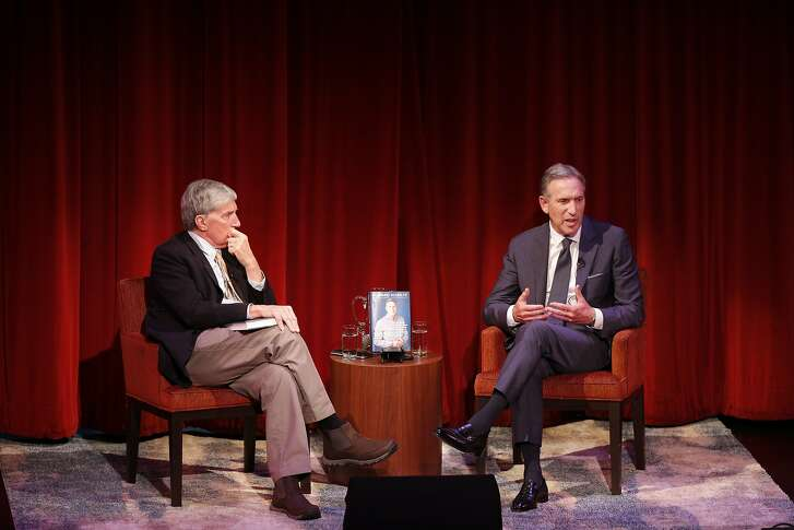 "From left: Moderator Roy Eisenhardt hosts former Starbucks CEO Howard Schultz during a program at the Jewish Community Center on Friday, Feb. 1, 2019, in San Francisco, Calif. Schultz promoted his new book, ""From the Ground Up: A Journey to Reimagine the Promise of America."""