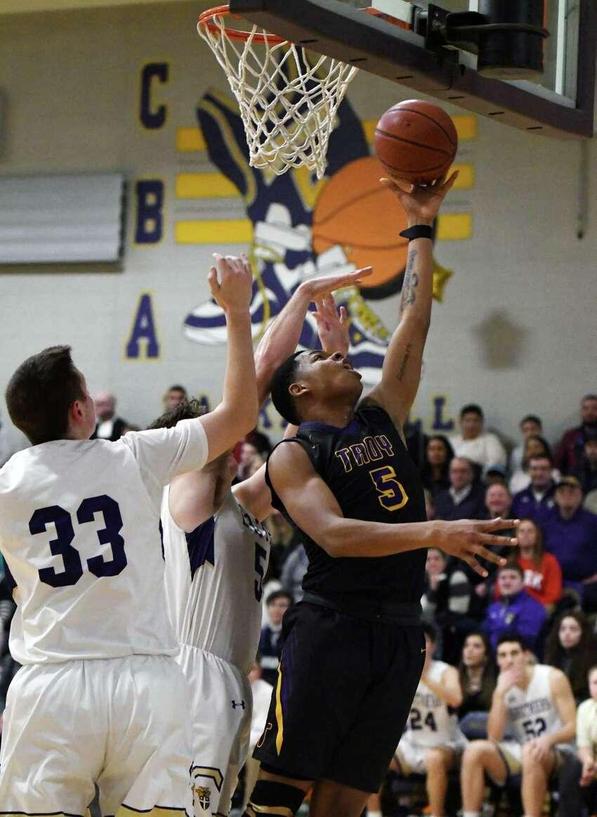 Troy's Lateef Johnson goes in for a layup during a game against CBA Friday, Feb. 1, 2019 at CBA in Colonie, NY. (Phoebe Sheehan/Times Union)