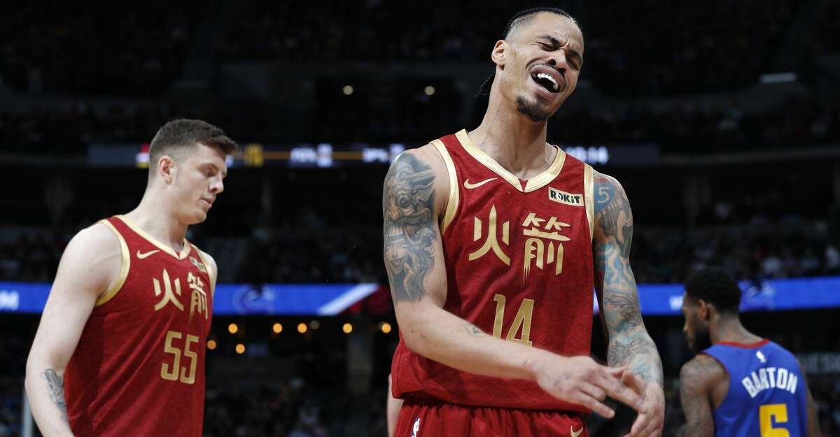 Houston Rockets guard Gerald Green reacts after being called for a foul against the Denver Nuggets during the second half of an NBA basketball game Friday, Feb. 1, 2019, in Denver. The Nuggets won 136-122.(AP Photo/David Zalubowski)