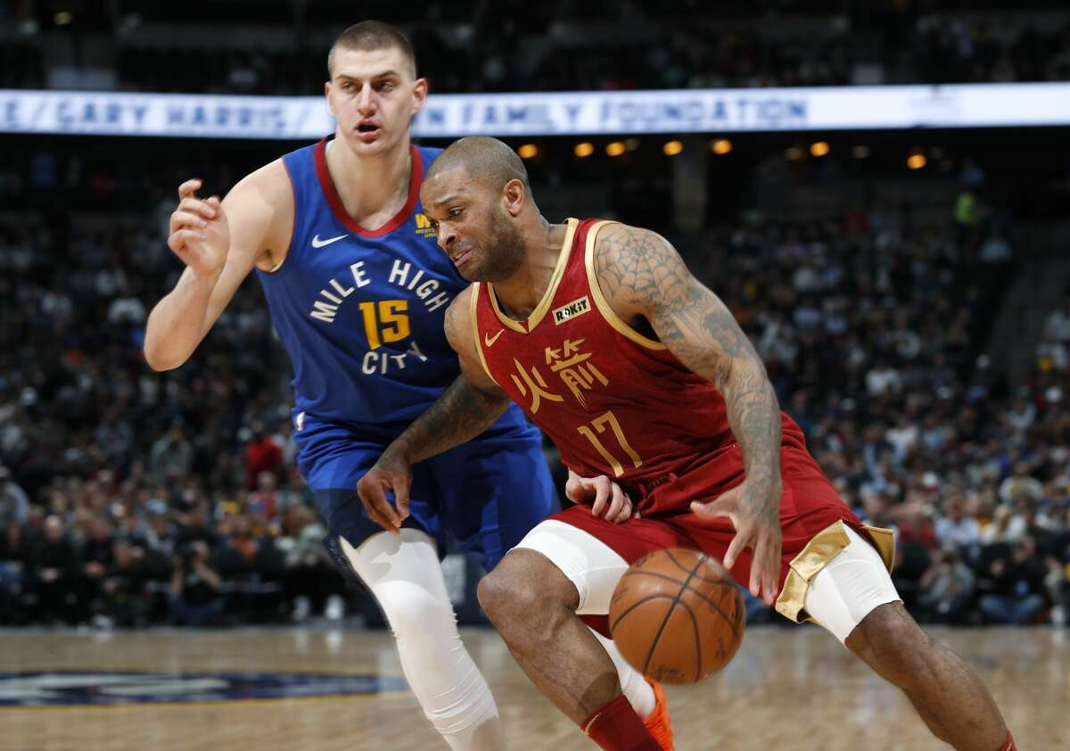 PHOTOS: 2018-19 Rockets game-by-game  Houston Rockets forward PJ Tucker, front, drives past Denver Nuggets center Nikola Jokic during the first half of an NBA basketball game Friday, Feb. 1, 2019, in Denver. (AP Photo/David Zalubowski) >>>See how the Rockets have fared in each game this season ...