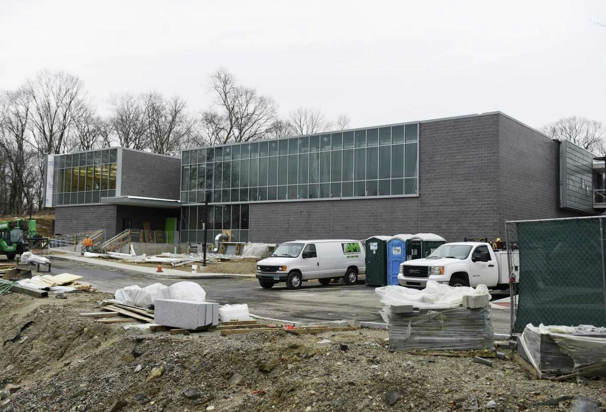 Construction continues on the new New Lebanon School building in the Byram section of Greenwich, Conn. Wednesday, Jan. 23, 2019. Students are expected to move into the new facility and begin class on Tuesday, Feb. 19, following winter break.