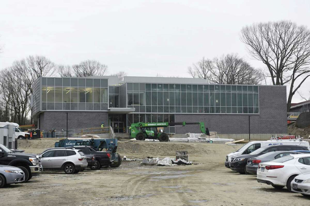 Construction continues on the new New Lebanon School building in the Byram section of Greenwich, Conn. Wednesday, Jan. 23, 2019. Students are expected to move into the new facility and begin class this week.