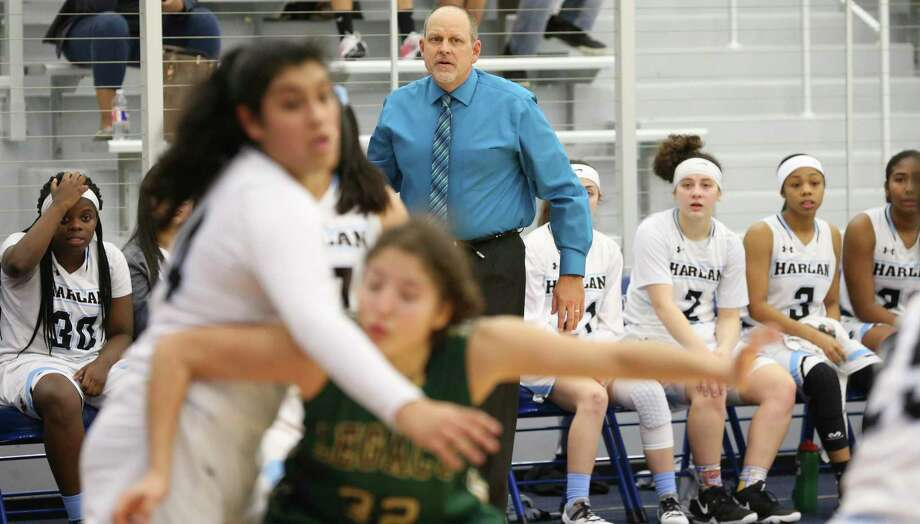 Coach Terry Barton watches his team's defense as Harlan hosts Southwest Legacy in girls basketball at Harlan High School on February 1, 2019. Photo: Tom Reel, Staff / Staff Photographer / 2019 SAN ANTONIO EXPRESS-NEWS