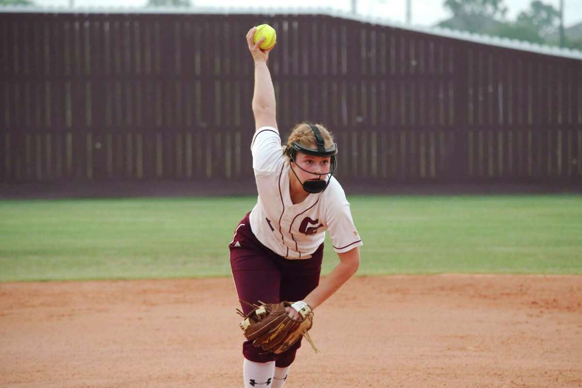 Clear Creek's Megan Lee (shown in this file photo) pitched a complete game in helping the Lady Wildcats edge Clear Falls, 3-2, Monday night in a softball seeding playoff game.