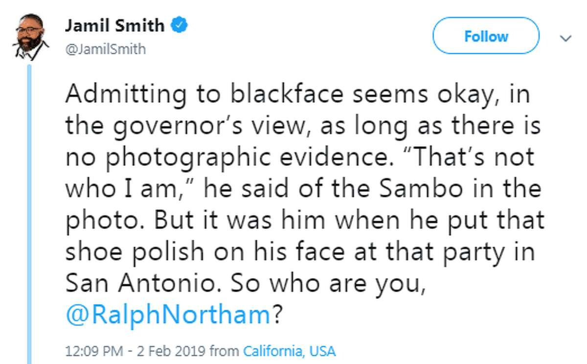 """@JamilSmith: """"Admitting to blackface seems okay, in the governor's view, as long as there is no photographic evidence..."""""""