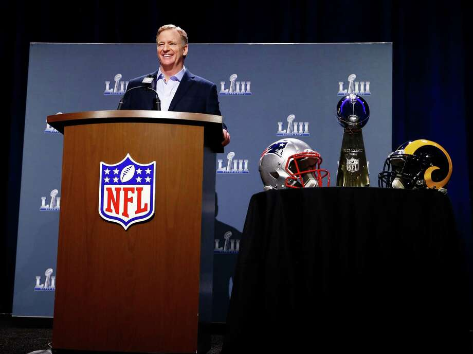 NFL Commissioner Roger Goodell speaks during a press conference during Super Bowl LIII Week at the NFL Media Center inside the Georgia World Congress Center on Wednesday in Atlanta, Georgia. Photo: Mike Zarrilli / Getty Images / 2019 Getty Images