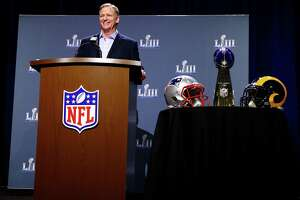 NFL Commissioner Roger Goodell speaks during a press conference during Super Bowl LIII Week at the NFL Media Center inside the Georgia World Congress Center on Wednesday in Atlanta, Georgia.