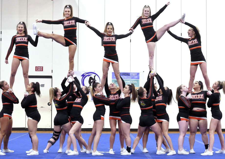 The Shelton High School team competes in the SCC cheerleading championships at North Haven High School on Saturday. Photo: Arnold Gold / Hearst Connecticut Media / New Haven Register