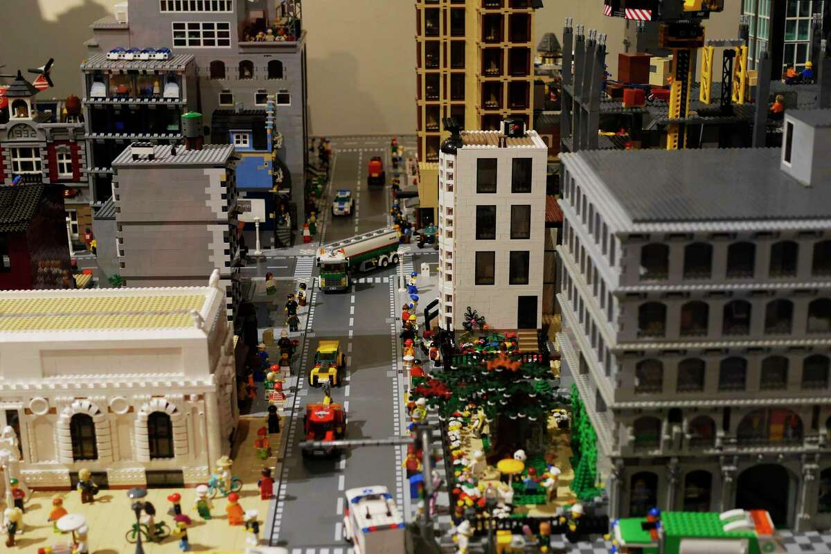 A Lego city built by Legoland Master Builder, Ian Coffey, is seen on display at miSci, Museum of Innovation and Science on Thursday, Dec. 28, 2017, in Schenectady, N.Y. The Lego city is on display until mid January. On every Saturday through Jan. 13th, from 10:00am to 12 noon and from 1:00pm to 3:00pm, the GE Trip Optimizer, a train engineering simulator, will be available for children to operate. The simulator gives those using it the feeling of operating a locomotive. (Paul Buckowski / Times Union)