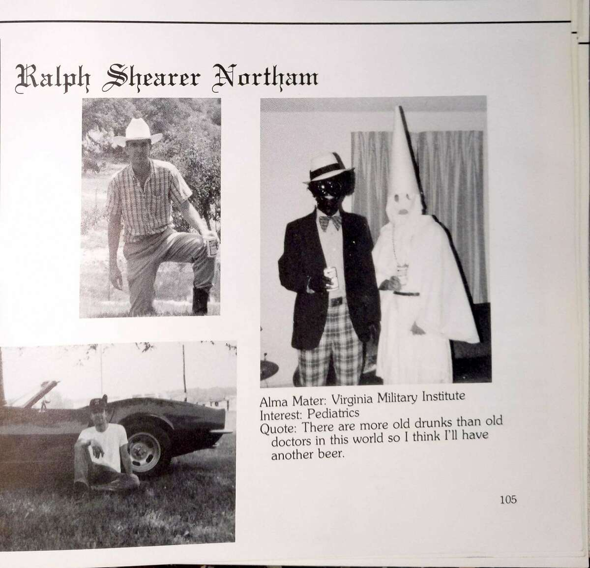 Ralph Northam's page in the 1984 yearbook of Eastern Virginia Medical School in which two people are wearing blackface and a KKK costume. MUST CREDIT: Obtained by The Washington Post