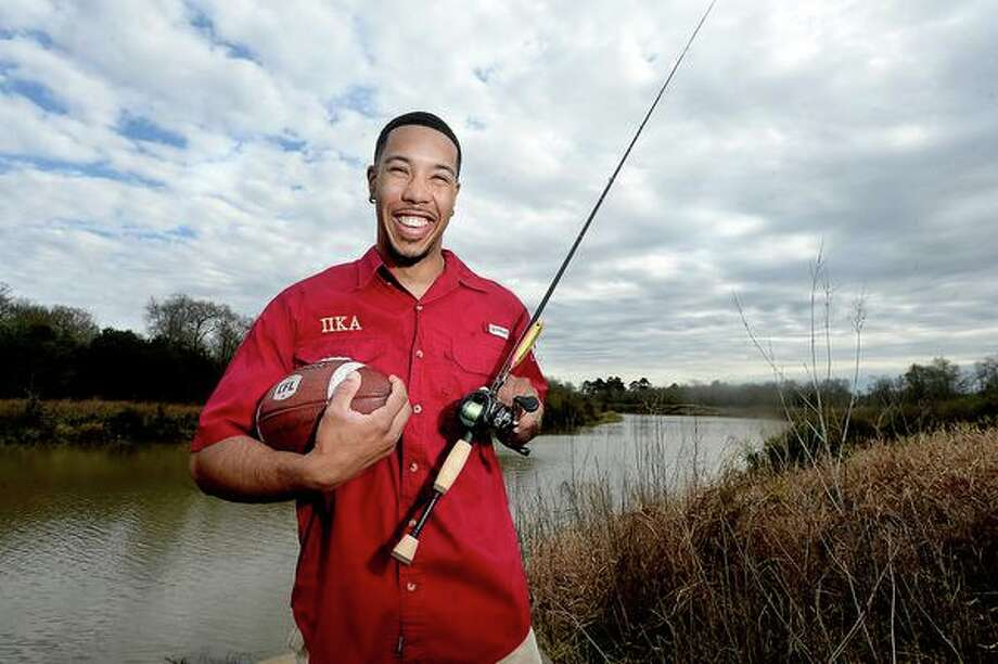 Reggie Begelton, former Lamar star receiver who now plays for Calgary in the Canadian Football League, grew up with a passion for two sports - football and fishing. He spent countless days fishing at the canal near his house by Tyrrell Park. While continuing to pursue professional football, which he hopes will include another opportunity to join the NFL, Begelton is also weighing the option of becoming a professional fisherman. Photo taken Wednesday, January 30, 2019 Photo by Kim Brent/The Enterprise Photo: Kim Brent / The Enterprise