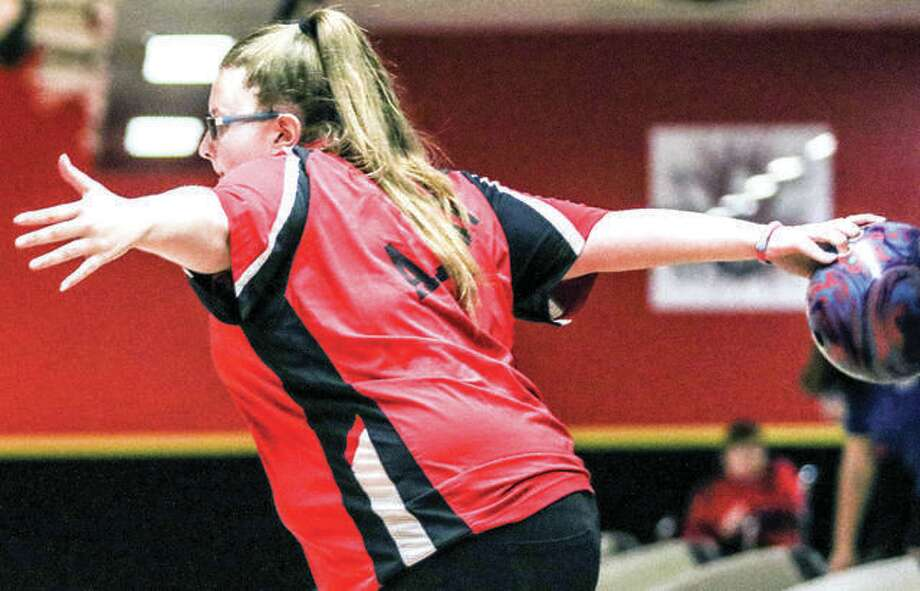 Alton High's Alex Bergin, along with teammate Ashley Westbrook, qualified at the Collinsville Regional Saturday as individuals for next week's IHSA girls bowling sectional. Photo: Telegraph File Photo