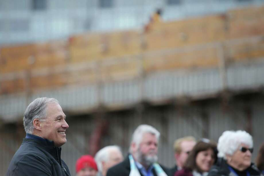 Washington Governor Jay Inslee listens during an offical ribbon cutting ceremony to celebrate the opening of the new SR 99 tunnel, which opened to drivers on Monday, Saturday, Jan. 2, 2019. (Genna Martin, SeattlePI) Photo: GENNA MARTIN, Seattlepi.com / SeattlePI