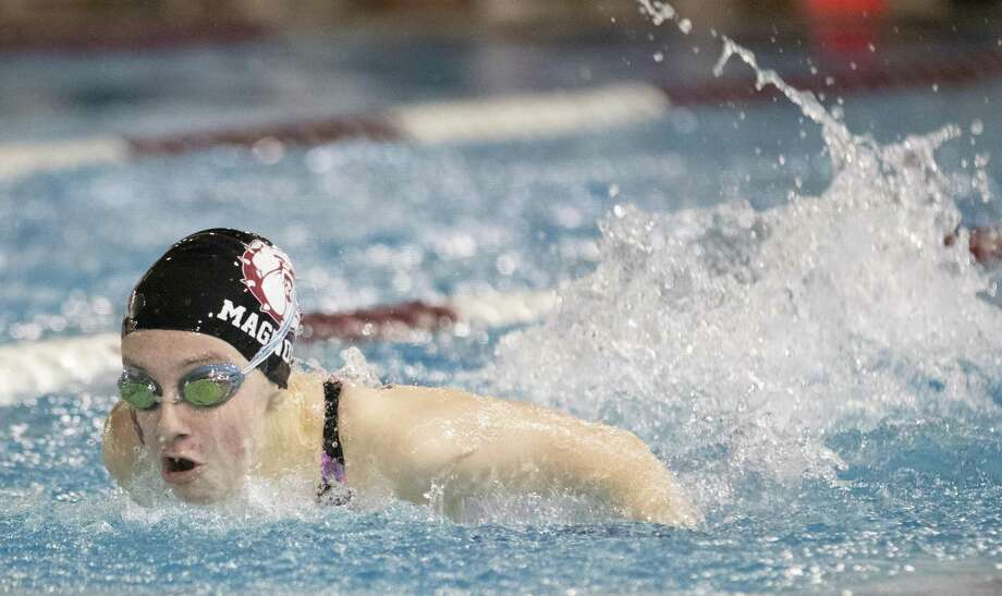 Magnolia freshman Sierra Tice competes in the girls 100 yard butterfly event during the Region VI-5A championships Saturday, Feb. 2, 2019 at the Michael D. Holland Aquatic Center in Magnolia. Photo: Cody Bahn, Houston Chronicle / Staff Photographer / © 2018 Houston Chronicle
