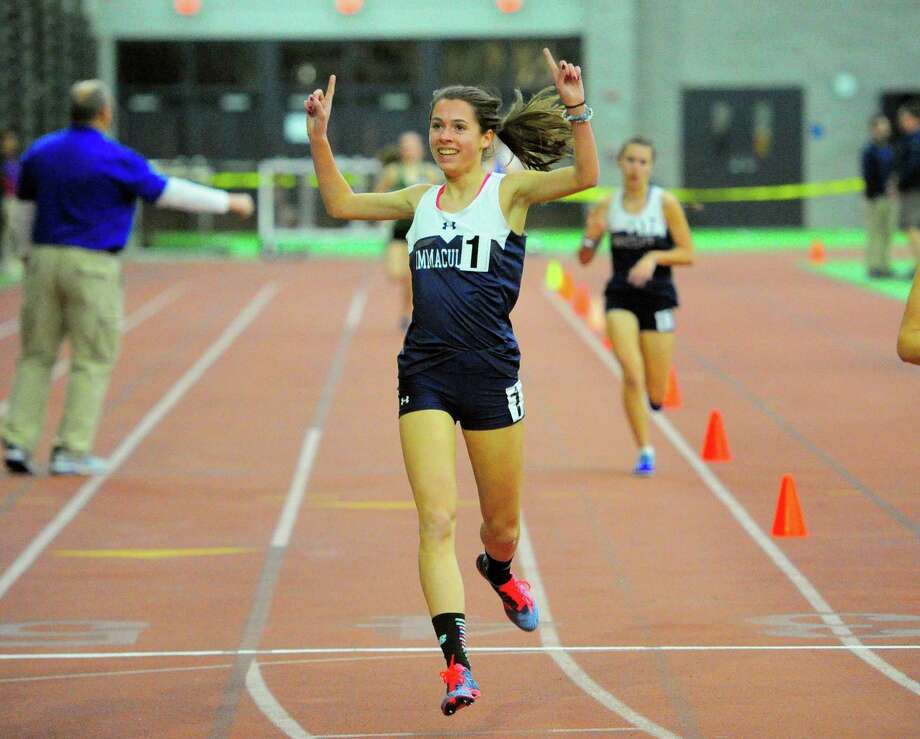Immaculate's Taylor Mascetta crosses the finish line in the 1600 meter run during SWC Indoor Track and Field Championship action in New Haven, Conn., on Saturday Feb. 2, 2019. Photo: Christian Abraham / Hearst Connecticut Media / Connecticut Post