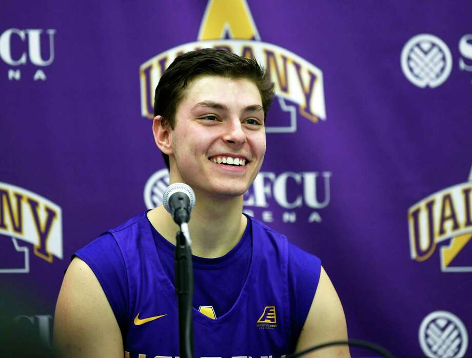 University at Albany guard Cameron Healy talks with reporters after a  an NCAA college basketball game against Binghamton Saturday, Feb. 2, 2019, in Albany, N.Y. University at Albany won the game 64-50. (Hans Pennink / Special to the Times Union) Photo: Hans  Pennink / 20045813A