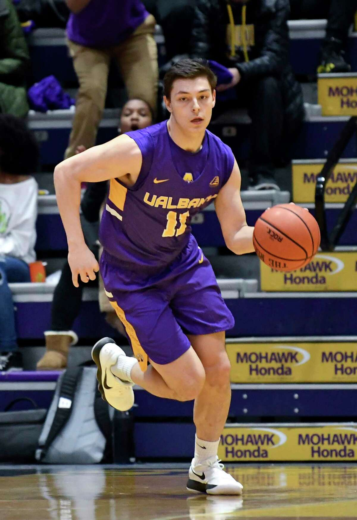 University at Albany guard Cameron Healy (11) moves the ball against Binghamton during the first half of an NCAA college basketball game Saturday, Feb. 2, 2019, in Albany, N.Y. (Hans Pennink / Special to the Times Union)