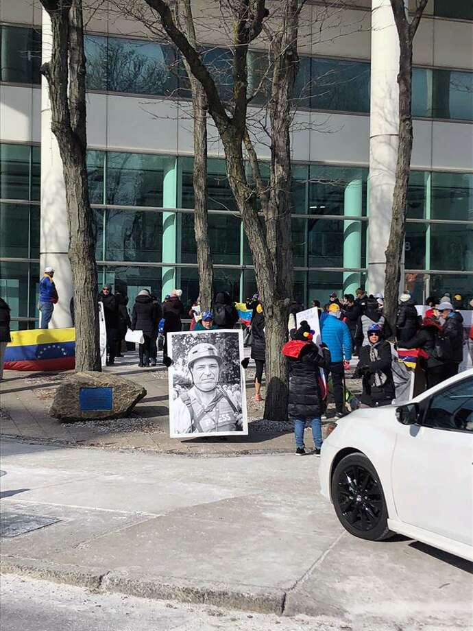 The rally, held in front of 888 Washington Boulevard in Stamford, Conn., on Saturday, Feb. 2, 2019, was held in conjunction with a series of worldwide rallies and protests, set up to support the people of Venezuela. Photo: Contributed Photo / Stamford Police Department / Contributed Photo / Connecticut Post Contributed