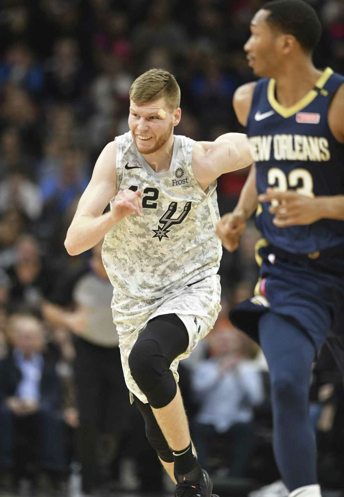 Davis Bertrans of the San Antonio Spurs runs to defend after scoring against the New Orleans Pelicans during NBA action in the AT&T Center on Saturday, Feb. 2, 2019.