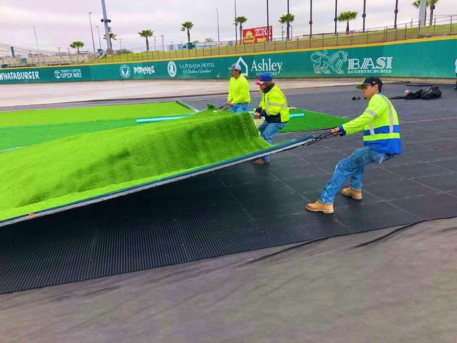 The Tecolotes Dos Laredos are upgrading to a synthetic turf which Hellas Construction began installing Friday at Uni-Trade Stadium. Photo: Courtesy Of The Tecolotes Dos Laredos