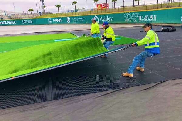 The Tecolotes Dos Laredos are upgrading to a synthetic turf which Hellas Construction began installing Friday at Uni-Trade Stadium.