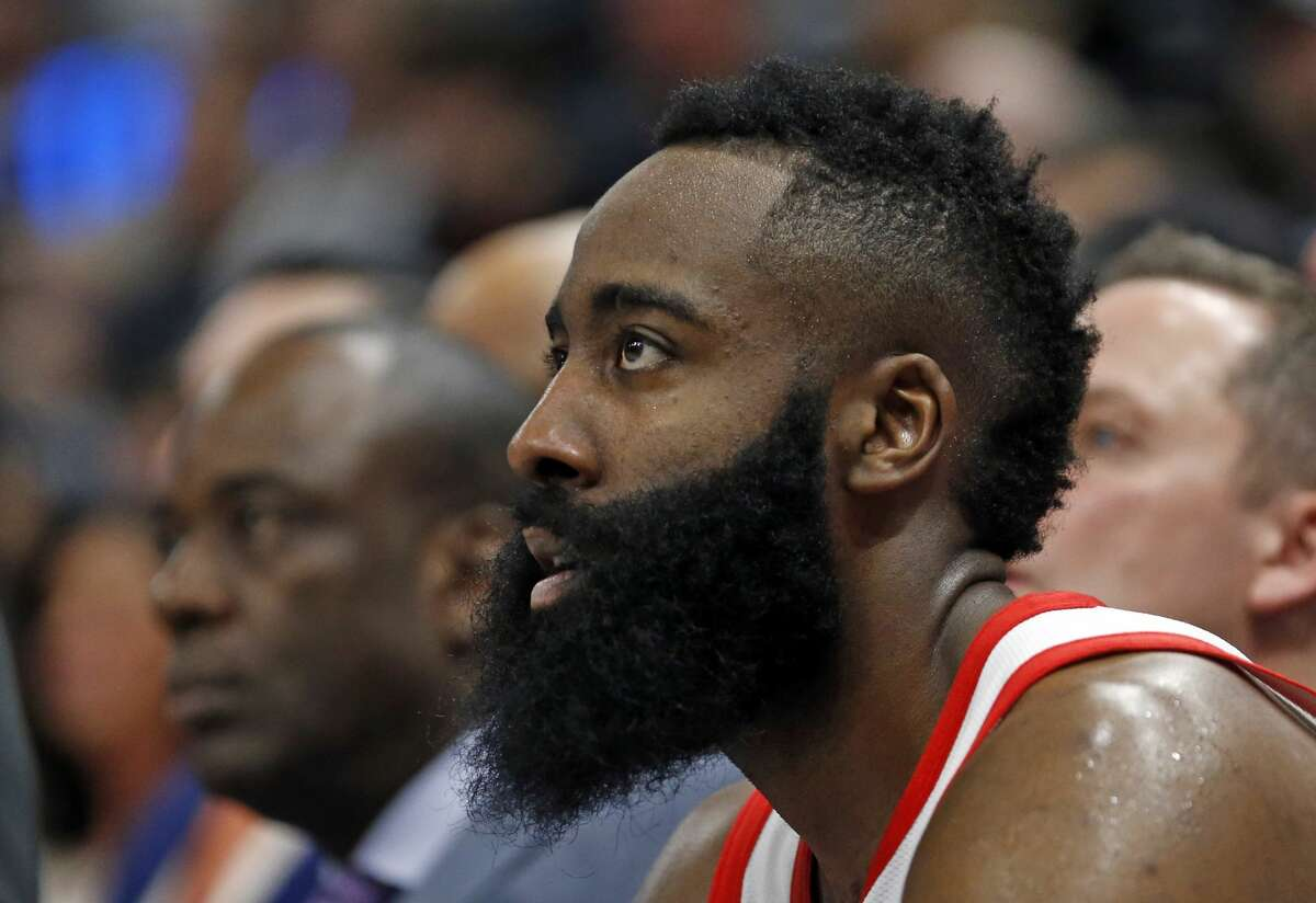 Houston Rockets guard James Harden (13) looks on as he comes out of the game during the second half of an NBA basketball game against the Utah Jazz Saturday, Feb. 2, 2019, in Salt Lake City. (AP Photo/Rick Bowmer)