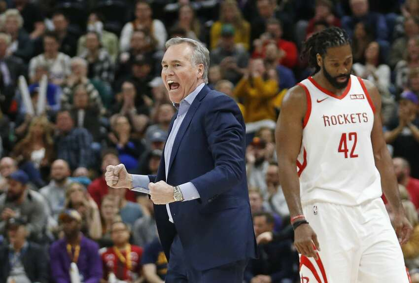 Houston Rockets coach Mike D'Antoni reacts as he runs onto the court during the second half of the team's NBA basketball game against the Utah Jazz on Saturday, Feb. 2, 2019, in Salt Lake City. (AP Photo/Rick Bowmer)