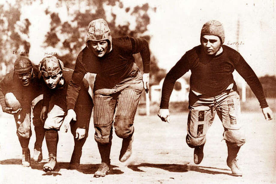 While photos cannot be found of the St. Louis All-Stars, who played only the 1923 season in the NFL, this photo of another group of NFL players from that season is representative of the equipment and size of pro football players of that era. The All-Stars' last game was a 9-7 loss to the Benld Independents in Benld on Dec. 2, 1923. Photo: File Photo