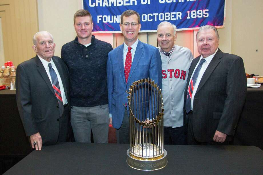 President of the Boston Red Sox Sam Kennedy, who brought along the 2018 Major League Baseball Commissioner's Trophy, spoke at the recent Middlesex County Chamber of Commerce member breakfast. From left are Chamber President Larry McHugh, Green Bay Packers Football Player Tim Boyle, Kennedy, Executive Vice President of the Commercial Real Estate Division at Webster Bank William E. Wrang III and Chamber Chairman Jay Polke. Photo: Contributed Photo / (c)DE KINE PHOTO LLC