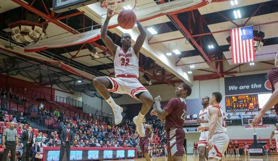 SIUE's Brandon Jackson slams home a dunk during action against Eastern Kentucky on Saturday inside the Vadalabene Center. Photo: SIUE Athletics