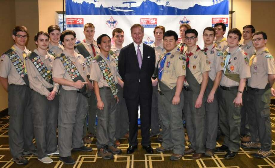New board member Mark Stitzer with the 2018 Greenwich Council, BSA Class of Eagles. Photo: Contributed