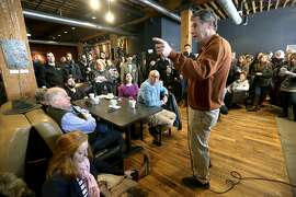 U.S. Sen. Sherrod Brown, an Ohio Democrat who said he is weighing a presidential bid, speaks during a meet and greet at Inspire Cafe in Dubuque, Iowa, on Saturday, Feb. 2, 2019. (Jessica Reilly/Telegraph Herald via AP)
